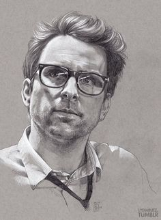 The lovely Dr. Newton Geiszler drawn with mechanical B pencils and a white charcoal pencil on grey paper. I love this little shouty science man. Get it as a print!