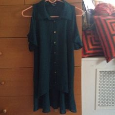Forever 21 sheer button down Hunter green sheer short sleeve button down with cut out shoulders. Size medium, high/low. Higher in the front and lower in the back. Gold buttons. Comfy, runs a little big. Forever 21 Tops Button Down Shirts