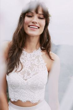 Beautiful Two piece Wedding Dresses - If you're looking for something unique different from the traditional white wedding gown, then you must check out these 24 Completely Beautiful Crop Top Wedding Dresses,separate wedding dress 2 Piece Wedding Dress, Wedding Dress Separates, White Wedding Gowns, Top Wedding Dresses, Designer Wedding Dresses, Elegant Wedding, Wedding Abaya, Elegant Gown, Bridal Separates