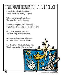 Hanukkah Means Fun and Freedom - Kids Poem Hanukkah For Kids, Hanukkah Crafts, Feliz Hanukkah, Hannukah, Happy Hanukkah, Hanukkah Harry, Hanukkah 2019, Holidays, Weihnachten
