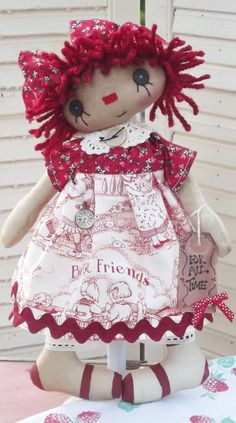 "Primitive Raggedy Ann doll ""Best Friends are Forever."" ....(Aaaaw, such a cute face on this little Raggedy Anne!)"
