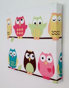 Items similar to Kids Canvas Wall Art, Nursery Decor, Owls, Nursery on Etsy