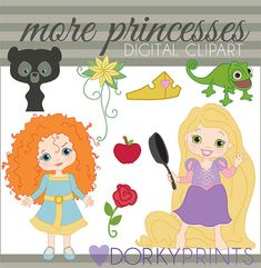 Disney Princess Digital Clip Art Set Personal and by DorkyPrints, $3.50