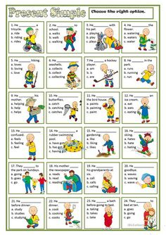 A collection of English ESL worksheets for home learning, online practice, distance learning and English classes to teach about present, simple, present simple English Grammar Worksheets, English Verbs, Kids English, Grammar Lessons, English Lessons, English Vocabulary, Learn English, English Language Learning, Learning Spanish