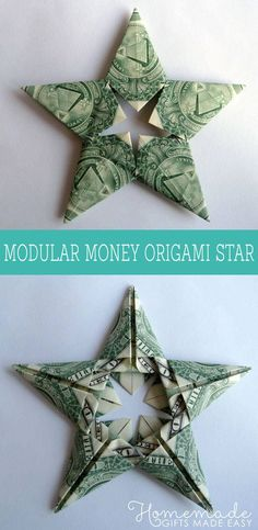 modular money origami star front