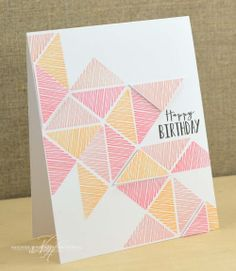 Triangles Birthday Card by Nichole Heady for Papertrey Ink (April - Kreativ - Creative Birthday Cards, Birthday Cards For Friends, Bday Cards, Handmade Birthday Cards, Happy Birthday Cards, Diy Creative Cards, Ideas For Birthday Cards, Simple Birthday Cards, Creative Logo