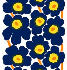Marimekko Indigo and Yellow print