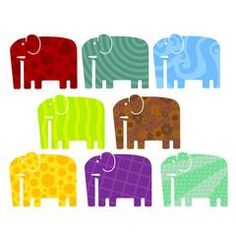 Elephant Wall Stickers Multicoloured