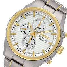 Seiko Mens Solar Titanium Chronograph Watch - In Stock, Free Next Day Delivery, Our Price: Buy Online Now Seiko Titanium, Seiko Solar, Seiko Men, Seiko Watches, Gold Watch, Chronograph, Bracelet Watch, Quality Watches, 100m