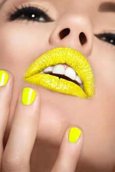 Nails + Lips.  Crazy yellow