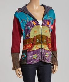 Another great find on #zulily! Purple & Turquoise Patchwork Fleece-Lined Zip-Up Hoodie #zulilyfinds