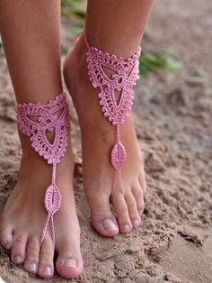 Pink Cut Out Crochet Toe Ring Barefoot Sandals | Choies