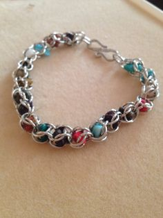 Chainmaille Captured Stone Bracelet by InfiniteEnigma on Etsy, $25.00