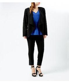 Inspire Black Crepe Zip Pocket Waterfall Blazer | New Look