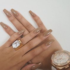 Tan Nude Coffin Nails
