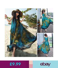 Dresses Uk8-24 Zanzea Women Summer Sleeveless Tunic Baggy Long Maxi Boho Dress Plus Size #ebay #Fashion