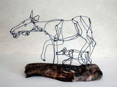 Moose and Calf Wire Sculpture by WiredbyBud on Etsy, $90.00