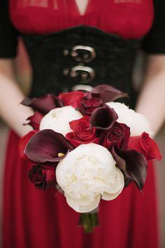 Dark red lilies