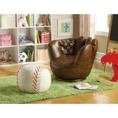 Guide to buy Baseball Glove Kids Faux Leather Chair and Ottoman By Crown Mark - Coupon Off on Bedroom Furniture Baseball Chair, Baseball Furniture, Boys Baseball Bedroom, Baseball Room Decor, Baseball Stuff, Uk Baseball, Wooden Furniture, Antique Furniture, Baseball Pants