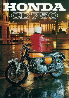 Honda CB 750 four Poster Honda CB 750 Four #classicmotorcycles #motos   caferacerpasion.com