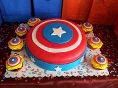 Captain America birthday cake for my son
