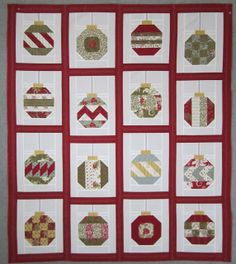 Christmas quilt, great way to use scrap fabrics and will remind you of all the Christmas projects you have done!  Would be cute hanging on a wall behind a Christmas tree!