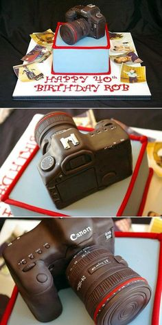 Thought of Kayla~ Body made from layered cake with fondant, and lens made from fondant Canon camera, made from covered chocolate rice-crispy squares. Pretty Cakes, Beautiful Cakes, Amazing Cakes, Fondant Cakes, Cupcake Cakes, Cupcakes, Rice Crispy Squares, Chocolate Rice Crispy, Camera Cakes