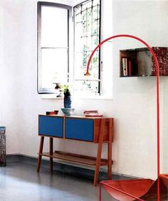 Zero consolle with blue lacquered doors. design by MAAM