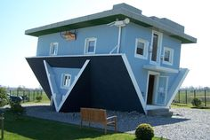 Curious Places: Upside-down house in Trassenheide, Germany;  the interior is also upside-down