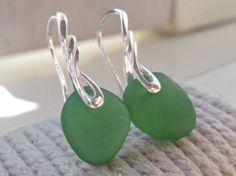 Green Sea Glass Sterling Silver Earrings by SeahamWaves on Etsy, £15.00