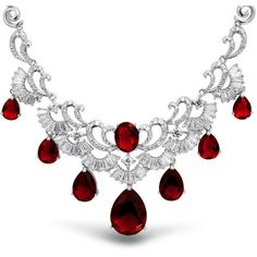 Bling Jewelry Ruby Swirl Necklace (375 SAR) ❤ liked on Polyvore featuring jewelry, necklaces, red, chain-necklaces, necklaces pendants, red necklace, red jewelry, chain pendant, pendants & necklaces and pendant chain necklace