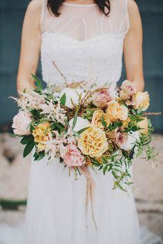 Blush and mustard bridal bouquet | Image by Matt Lien