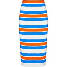 Tanya Taylor Multi Stripe Peggy Pencil Skirt ($84) ❤ liked on Polyvore featuring skirts, stretch skirts, high waisted bodycon skirt, high-waist skirt, high waist knee length pencil skirt and knee length pencil skirt