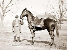 Ulysses S. Grant's famous horse, Cincinnati, in 1865.  At an early age, Grant emotionally bonded to horses. A shy, quiet child, he found joy in working with and riding them. Grant excelled in horsemanship at West Point, and at graduation, he put on an outstanding jumping display. Grant owned many horses in his lifetime, including one named Jeff Davis, so named because he acquired it during his Vicksburg Campaign from Jefferson Davis's Mississippi plantation. Cincinnati was a gift.