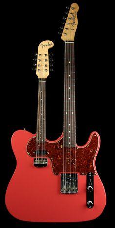 Fender Custom Shop NAMM One-Off Masterbuilt Doubleneck Esquire and Mandolin NOS Coral Pink