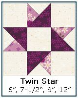 A Twin Star quilt block is just the block for a beginning quilter to practice quarter square triangles. Free Paper Piecing Patterns, Quilt Square Patterns, Pattern Blocks, Quilt Block Patterns 12 Inch, Star Patterns, Quilting Patterns, Canvas Patterns, Star Quilt Blocks, Star Quilts
