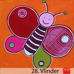 Kinderschilderij Vlinder. Origineel enn vrolijk schilderijtje voor op de kinderkamer