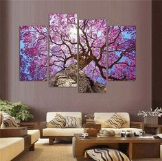 4 Pieces Multi Panel Modern Home Decor Framed Spring Cherry Blossoms Wall Canvas Art - Octo Treasures - 1 Metal Tree Wall Art, Framed Wall Art, Wall Art Decor, Canvas Wall Art, Wall Art Prints, Canvas Poster, Cherry Blossom Painting, Cherry Blossoms, Living Room Pictures