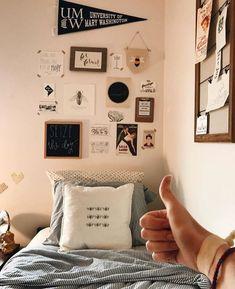 Cute cozy grey bedding and wall decor in the dorm room Dorm Room Ideas - Dorm Room Decor - Dorm Inspiration - College Dorm - Dorm Room Organization - College Hacks