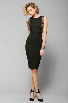 Chic Lace-Inset Bodycon Midi #Black #Dress #lbd