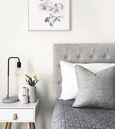 @mel_zag 's bedroom inspires us - so many beautiful details tied together flawlessly - love how she's styled her grey wool quilted cushion & wall art - available online now