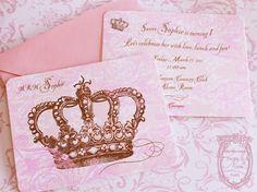Romantic Country Magazine June 2012 Pink Princess Crown Invitations Set. $25.99, via Etsy.