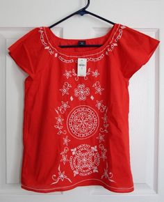 NEW GapKids Girl's Size XL 12 Red Orange Shirt Tunic Top Embroidered Floral NWT #GapKids #Everyday