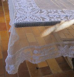 Filet Crochet Tablecloth, French filet lace Tablcloth, square, White and Ivory Table Cover 72 inch square