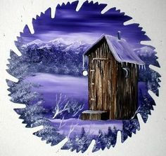 Hand Painted Saw Blade Art Mountain Out House Lavender Winter | eBay