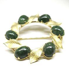 Jade Brooch - Vintage, Karen Lynne Signed, 12K Gold Filled, Jade Pin by MyDellaWear on Etsy