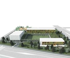 Competition design for a new Elementary School in Siheung city, South Korea. Education Architecture, Architecture Student, Architecture Plan, School Floor Plan, School Plan, School Building Design, Green Terrace, Modern Playground, Green School