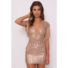 Limited Edition Rose Gold Sequin and Fringe Mini Dress ($90) ❤ liked on Polyvore featuring dresses, short sequin cocktail dresses, sparkly dresses, metallic cocktail dress, sequin fringe dress and short party dresses