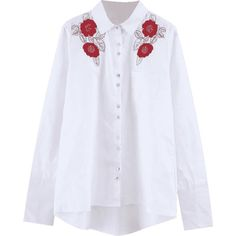 Floral Embroidered Sequins High Low Shirt (645 UYU) ❤ liked on Polyvore featuring tops, blouses, sequin embellished top, shirt top, white shirt blouse, white shirt and sequin blouse
