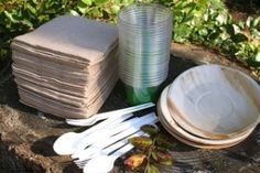 Compostable Party Kit- Palm Leaf-party in a bag, party,PLA, corn, palm leaf, Earthenware, plates, napkins, cups, corn cutlery, earth friendly disposable tableware, tableware will compost back into the earth, cold cups made from PLA corn, palm leaf plates, napkins made from recycled materials